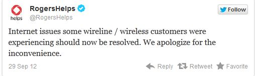 Rogers tweets that its outage is fixed.
